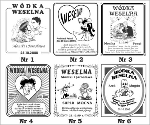 Etykiety samoprzylepne na wódkę weselną