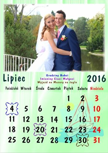 zdjęcia na kalendarzu